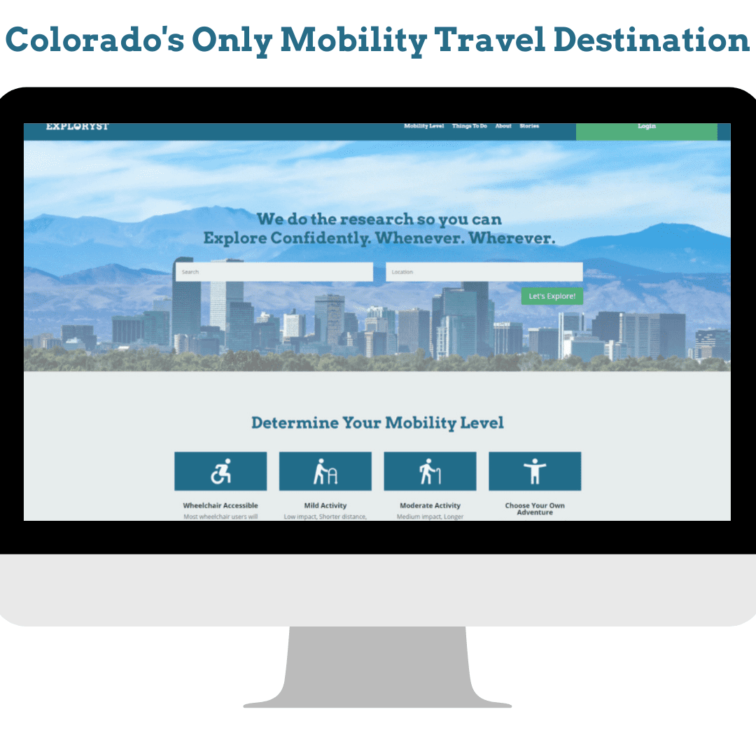 mockup of computer monitor with website landing page. The words Colorado's only mobility travel destination in blue above the monitor