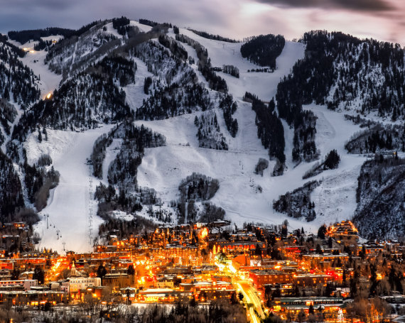 distance shot of Aspen with the ski area in the background