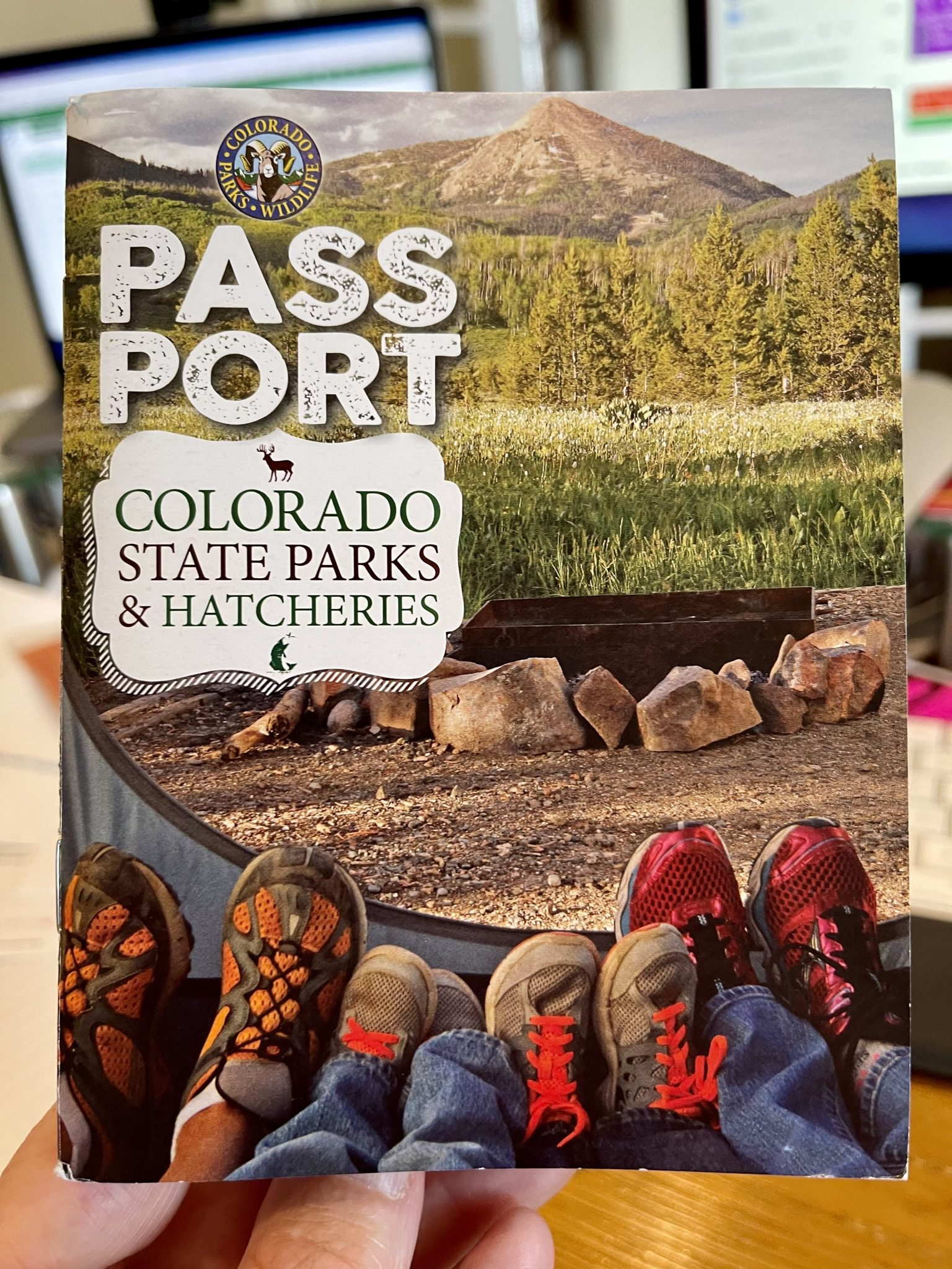 Colorado Parks and Wildlife Passport cover. photo of people's legs at the interior edge of a tent looking out toward a fire ring, a meadow, trees and a mountain in the distance. [Text: Colorado Parks and Wildlife Passport. Colorado state parks & hatcheries