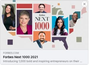 logo for Forbes Next 1000 included within a graphic of the continental US map. Headshots are included within the graphic as well